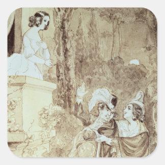 Leporello serenading Elvira in guise Giovanni Sticker