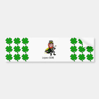 Lepre-con Leprechaun Stealing Pot of Gold Bumper Sticker