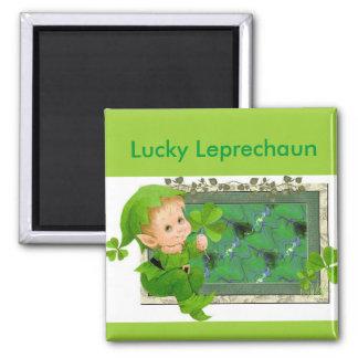 Leprechaun afortunado imán cuadrado