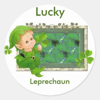 Leprechaun afortunado pegatina redonda