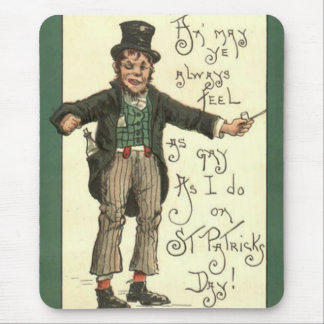 Leprechaun Alcohol Clay Pipe Shamrock Mouse Pad
