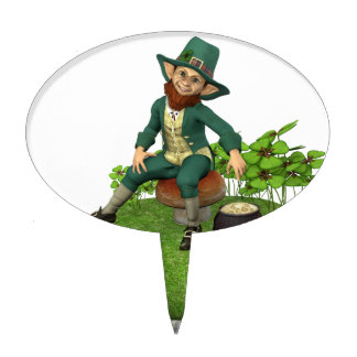 Leprechaun and His Gold Cake Topper