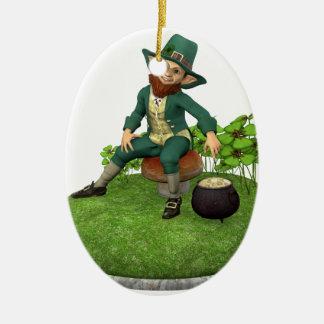 Leprechaun and His Gold Ceramic Ornament
