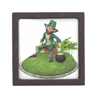Leprechaun and His Gold Gift Box