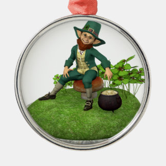 Leprechaun and His Gold Metal Ornament