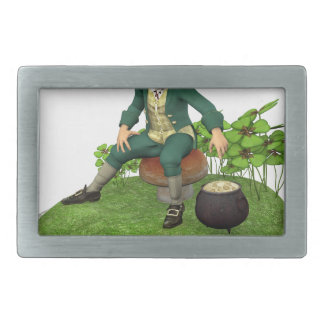 Leprechaun and His Gold Rectangular Belt Buckle