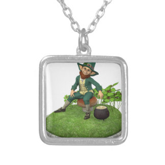 Leprechaun and His Gold Silver Plated Necklace
