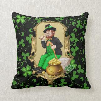 Leprechaun and Shamrocks Throw Pillow