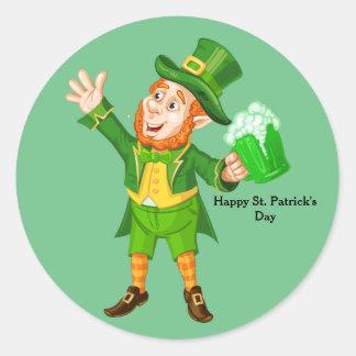 Leprechaun animado del día de St Patrick Pegatina Redonda
