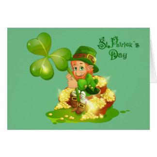Leprechaun animado del día de St Patrick Tarjeta De Felicitación