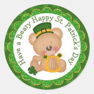 Leprechaun Bear with Celtic Harp Classic Round Sticker