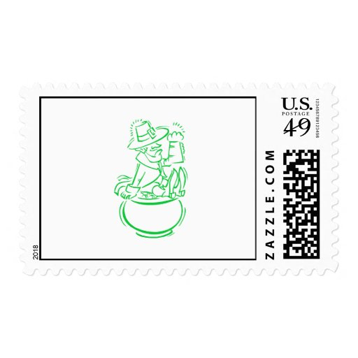 Leprechaun Beer & Pot of Godl Stamp