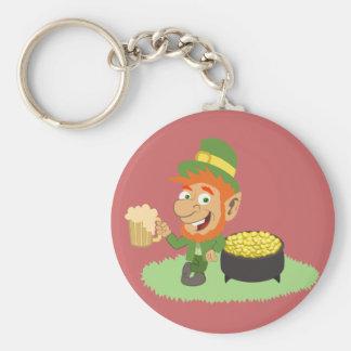 Leprechaun by Pot of Gold Basic Round Button Keychain