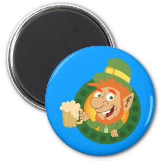 Leprechaun by Pot of Gold Fridge Magnets