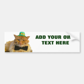 Leprechaun Cat with your text Bumper Stickers
