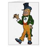 Leprechaun, cigarro, vintage St Patrick del sombre Tarjeton