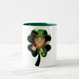leprechaun.clover Two-Tone coffee mug