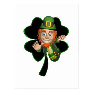 Leprechaun Coming Out A Four Leaf Clover Postcard