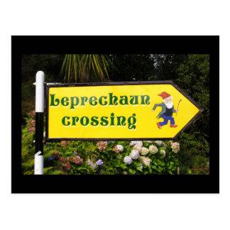 Leprechaun Crossing Postcard