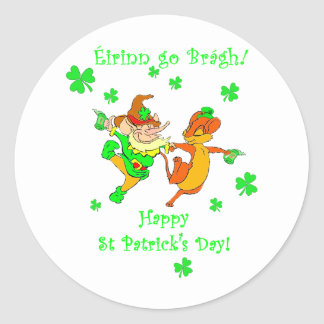 Leprechaun dancing with mouse stickers