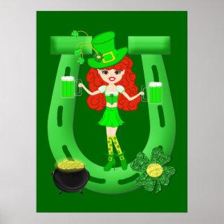 Leprechaun del chica del Redhead del día del St Pa Posters