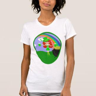 Leprechaun del chica del Redhead del día del St Pa Camiseta