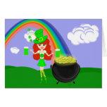 Leprechaun del chica del Redhead del día del St Pa Felicitacion
