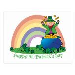 Leprechaun del oro del arco iris tarjeta postal