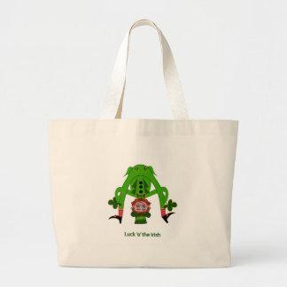 Leprechaun divertido bolsa tela grande