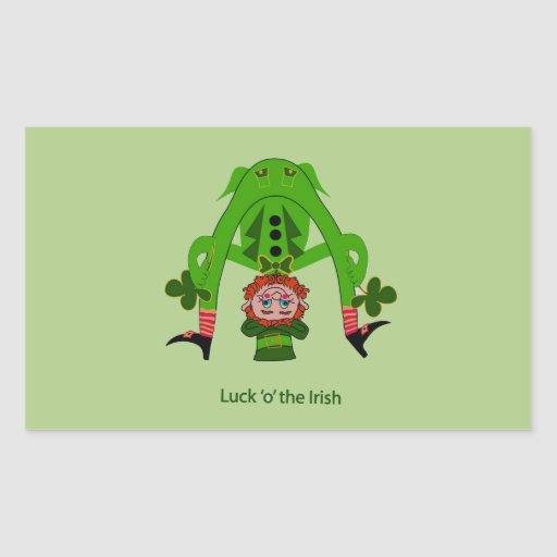 Leprechaun divertido rectangular pegatina