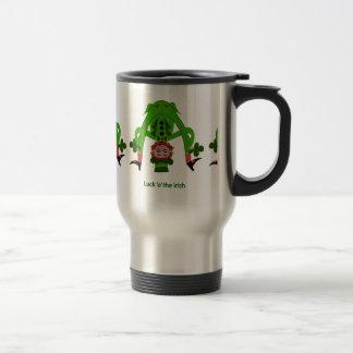 Leprechaun divertido taza de viaje de acero inoxidable