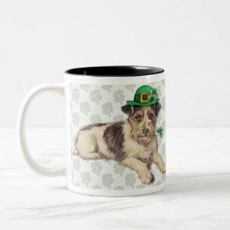 Leprechaun Dog Two-Tone Coffee Mug