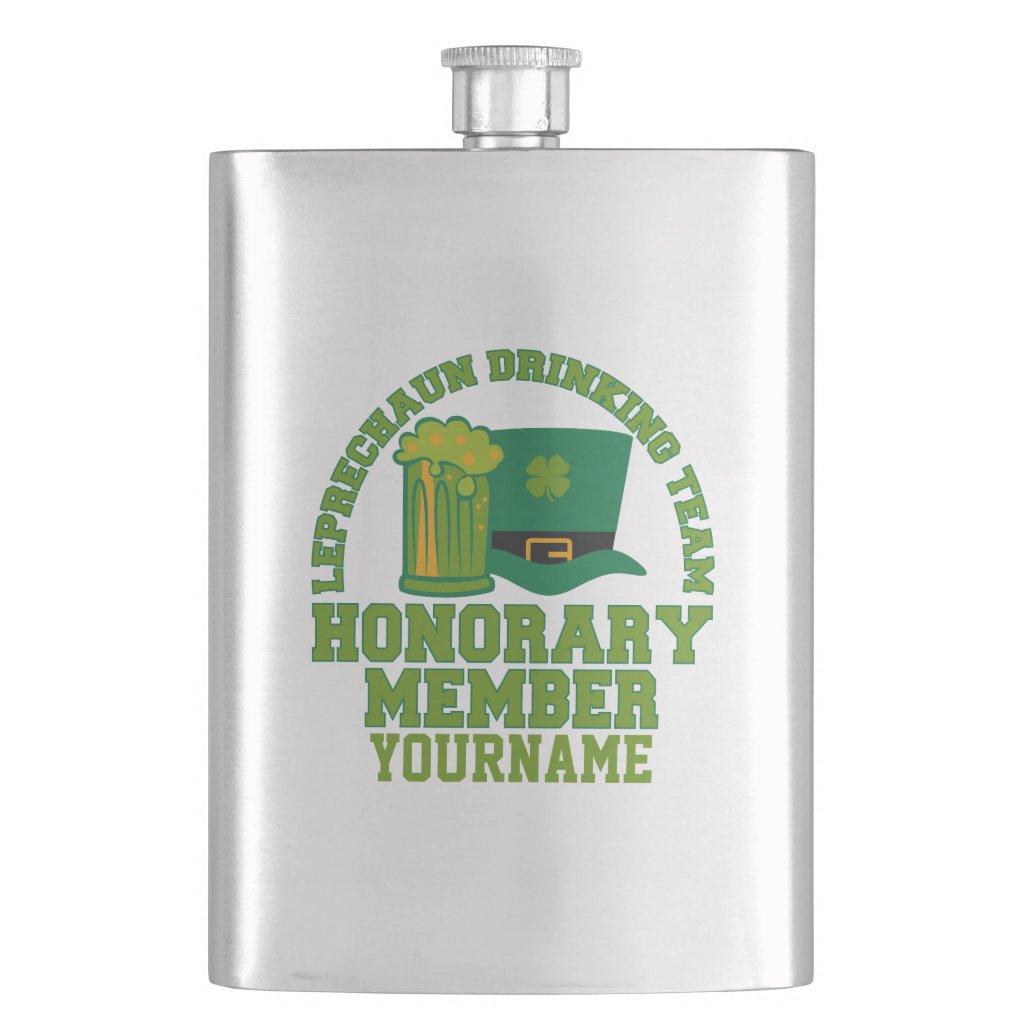 Leprechaun Drinking Team custom flask