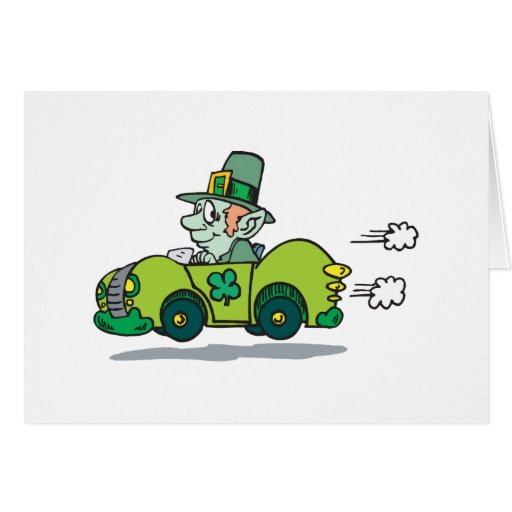 leprechaun driving a green car card zazzle. Black Bedroom Furniture Sets. Home Design Ideas