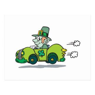 Leprechaun Driving A Green Car Postcard