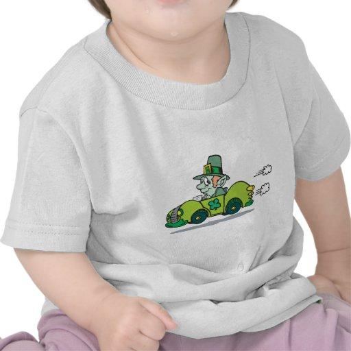 Leprechaun Driving A Green Car Tee Shirts