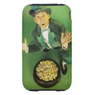 Leprechaun emocionado con la mina de oro iPhone 3 tough cobertura