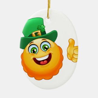 leprechaun emoji ceramic ornament