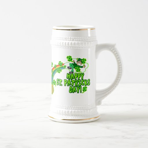 Leprechaun feliz del día del St Patricks Jarra De Cerveza