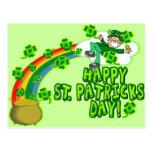 Leprechaun feliz del día del St Patricks Postales