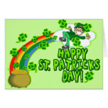 Leprechaun feliz del día del St Patricks Tarjeton