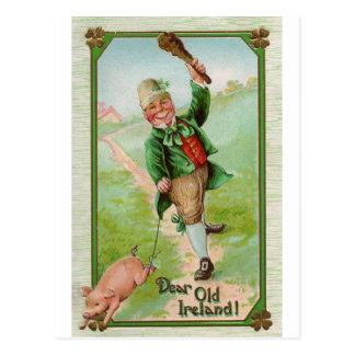 Leprechaun feliz postales