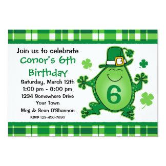 Leprechaun Frog Birthday Party Invitation