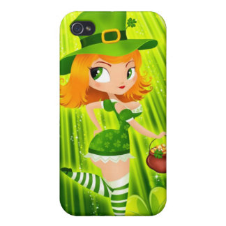 Leprechaun girl with gold and lucky shamrocks iPhone 4 case
