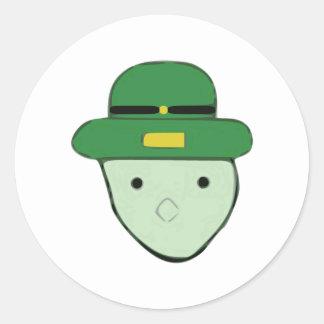Leprechaun Green Colored Sketch Meme Classic Round Sticker