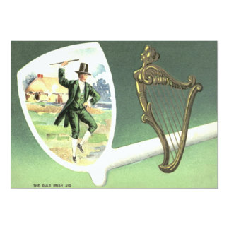 Leprechaun Harp of Erin Clay Pipe Jig Card