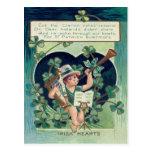 Leprechaun Harp Shamrock Horn Postcard