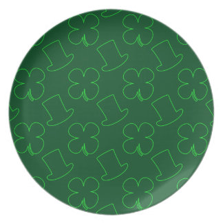 Leprechaun Hat and Clover Pattern Dinner Plate