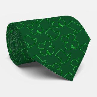 Leprechaun Hat and Clover Pattern Neck Tie