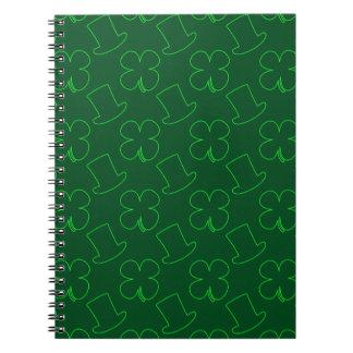 Leprechaun Hat and Clover Pattern Notebook